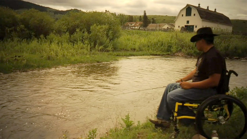 Veteran fishing in wheelchair
